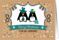 Merry Christmas for Grandchildren. Cute Penguin Couple card