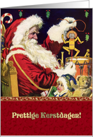 Prettige Kerstdagen. Dutch Christmas Card with a vintage Santa Claus card