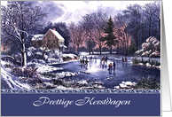 Prettige Kerstdagen. Dutch Christmas Card with Vintage Winter Scene card