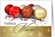 Meilleurs Voeux. French Christmas Card with Christmas Ornaments card
