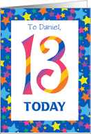 Custom Front 13th Birthday Card, Bright Stripes and Stars card