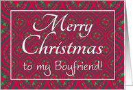 Christmas Card, Boyfriend, Festive Red, Green Baubles & Stars Pattern card