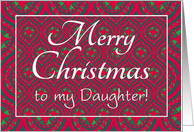 Christmas Card for Daughter, Festive Red, Green Baubles & Stars card