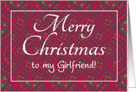 Christmas Card, Girlfriend, Festive Red, Green Baubles & Stars card