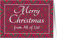 Christmas Card, from All of Us, Festive Red, Green Baubles & Stars card