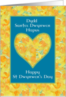 St Dwynwen's Day Daffodils Heart, Welsh and English card