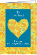 Custom front St Dwynwen's Day Daffodils Heart, English card