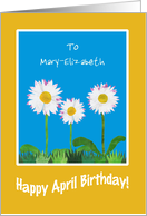 April Birthday Card to Personalize, Daisies card