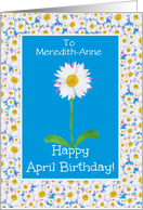 Custom Front Name-specific April Birthday Card, Daisy card