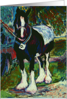 Shire Horse Fine Art Pastel Painting Blank Card