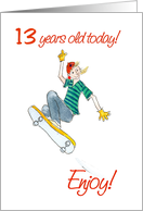 Skateboarding 13th Birthday Card
