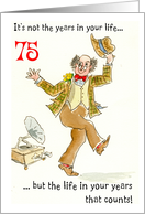 'Years in Your Life' 75th Birthday, Dancing Man card