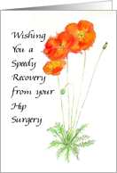 Orange Poppies Recovery from Hip Surgery Card