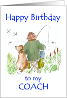 Birthday Card for a Coach with a Man Fishing card