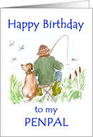 Birthday Card for a Penpal, with a Man Fishing card