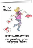 Driving Test Congratulations Card for a Sister card
