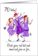 Red Hats 70th Birthday Card