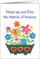 Matron of Honour Invitation Card - Window Box of Flowers card