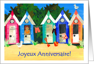 Birthday Beach Huts, French Greeting card