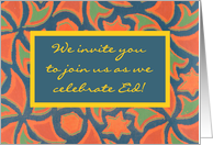 Eid Celebration Invitation, Islamic Design Border card