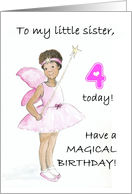4th Birthday Fairy Card for a Little Sister card