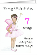 7th Birthday Fairy Card for a Little Sister card
