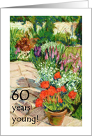 60th Birthday Card - Red Geraniums card