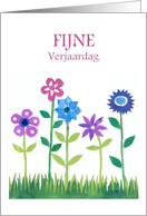 Birthday Card with Dutch Greeting - Flowers card