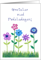 Birthday Card with Norwegian Greeting - Flowers card