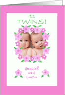 New Baby Twin Girls Announcement card