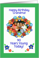 Customisable Birthday Photo Card, Flower Power card