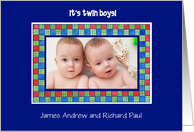 New Baby Twins Announcement Photo Card
