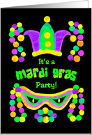 Mardi Gras Party Invitation with Beads, Mask and Crown card