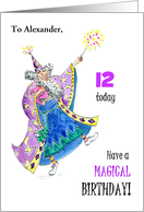 Magician Custom Front Name- and Age-specific Birthday Card