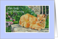 Birthday Card, German Greeting, Ginger Cat card