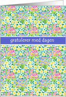 Primroses Birthday Card, Norwegian Greeting. card