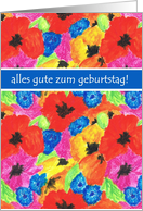 Poppies and Cornflowers Birthday Card, German Greeting card