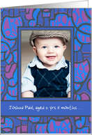 Adoption Announcement Photo Card, Blue and Magenta card