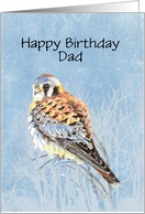 Birthday Dad Blank Card Watercolor Kestrel, Sparrow Hawk Falcon Bird card