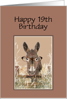 19th Birthday Humor Official Smart Ass Watercolor Donkey card