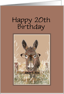 20th Birthday Humor Official Smart Ass Watercolor Donkey card
