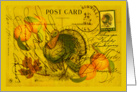 A Bountiful Thanksgiving, Vintage Postcard with Turkey card