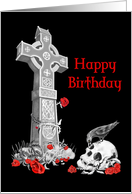 Celtic Cross and Skull Gothic Birthday card on black card