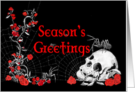 Gothic Spiders, Roses and Skull Seasonal Card
