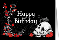Spiders, Roses and Skull Birthday Card with black background card