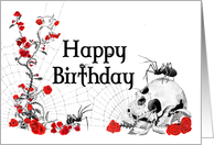 Spiders, Roses and Skull Birthday Card with white background card