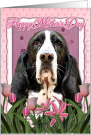 Happy Mother's Day Basset Hound in Pink Tulips card