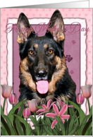 Happy Mother's Day German Shepherd in Pink Tulips card