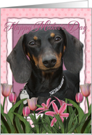 Happy Mother's Day Dachshund Pink Tulips card