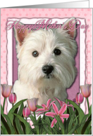 Happy Mother's Day West Highland Terrier in Pink Tulips card